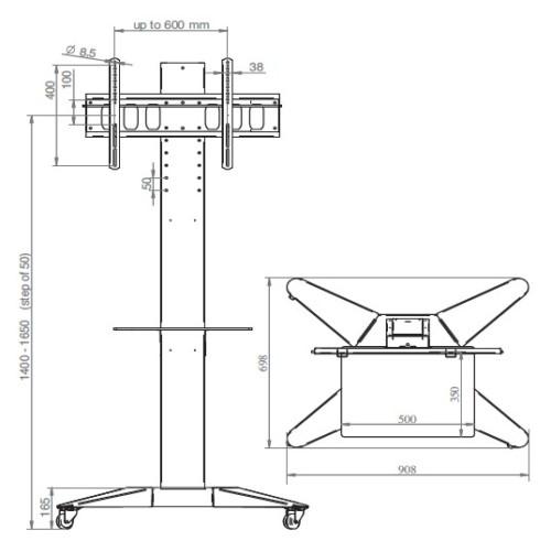 06600 supporto monitor da terra con ruote