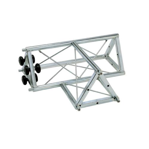 """00842 Traliccio triangolare a """"T"""" 3 canali maschio in acciaio zincato bianco (americana)"""
